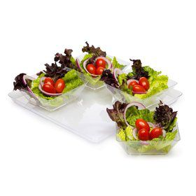 "11.5"" Clear Plastic Square Serving Tray (Each)"