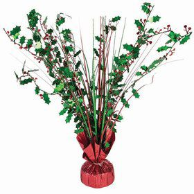 "15"" Balloon Weight Centerpiece - Green & Red Holographic Holly Berry"