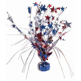 "15"" Balloon Weight Centerpiece - Red Blue & Silver Holographic Star"