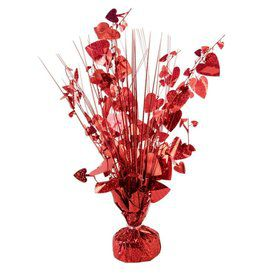 "15"" Balloon Weight Centerpiece - Red Holographic Hearts"