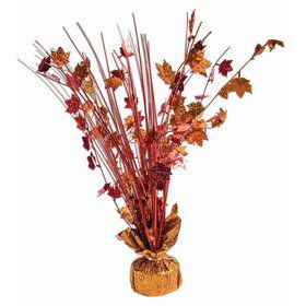 "15"" Balloon Weight Centerpiece - Red & Orange Holographic Fall Harvest Leaves"