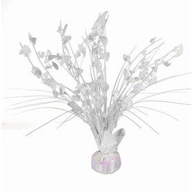 "15"" Shower Balloon Weight Centerpiece - Umbrella - White Iridesent"