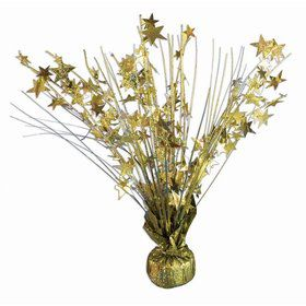 "15"" Starburst Balloon Weight Centerpiece - Gold Holographic"