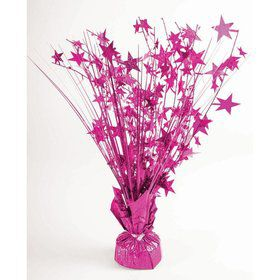 "15"" Starburst Balloon Weight Centerpiece - Hot Pink Holographic"