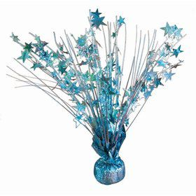 "15"" Starburst Balloon Weight Centerpiece - Light Blue Holographic"