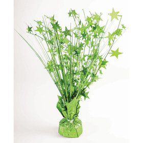 "15"" Starburst Balloon Weight Centerpiece - Lime Green Holographic"