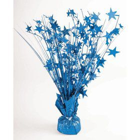 "15"" Starburst Balloon Weight Centerpiece - Peacock Blue Holographic"