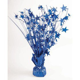 "15"" Starburst Balloon Weight Centerpiece - Royal Blue Holographic"