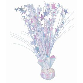 "15"" Starburst Balloon Weight Centerpiece - White Iridescent"
