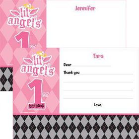 1st Birthday Angel Personalized Thank You Note (each)
