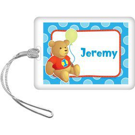 1st Birthday Bear Boy Personalized Bag Tag (each)