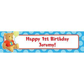 1st Birthday Bear Boy Personalized Banner (Each)