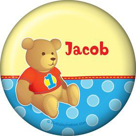 1st Birthday Bear Boy Personalized Button (each)