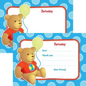 1st Birthday Bear Boy Personalized Thank You Note (each)