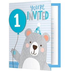 1st Birthday Bear Folded Invitation (8)