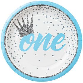 "1st Birthday Blue 7"" Plate (8)"
