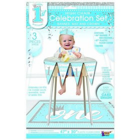 1st Birthday Blue High Chair Set