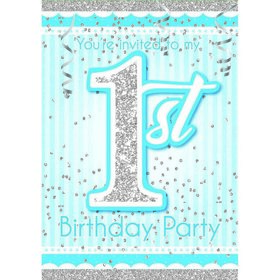 1st Birthday Blue Invitations (8)
