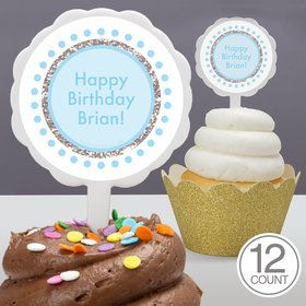 1st Birthday Blue Personalized Cupcake Picks (12 Count)