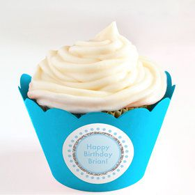 1st Birthday Blue Personalized Cupcake Wrappers (Set of 24)