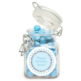 1st Birthday Blue Personalized Glass Apothecary Jars (12 Count)