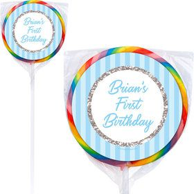1st Birthday Blue Personalized Lollipops (12 Pack)