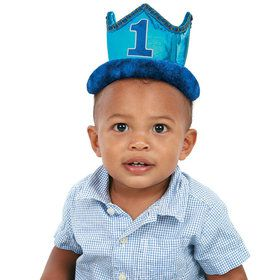 1st Birthday Blue Plush Crown (1)