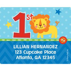 1st Birthday Boy Animal Personalized Address Labels (Sheet of 15)
