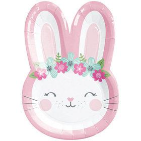 "Birthday Bunny Shaped 9"" Dinner Plate (8)"