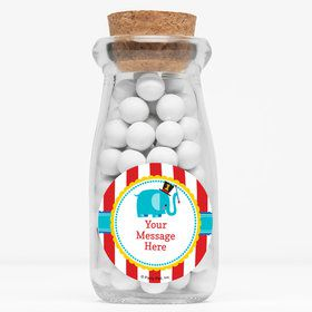 "1st Birthday Circus Personalized 4"" Glass Milk Jars (Set of 12)"