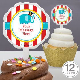1st Birthday Circus Personalized Cupcake Picks (12 Count)
