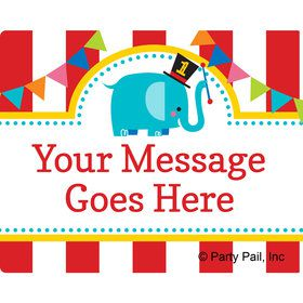 1st Birthday Circus Personalized Rectangular Stickers (Sheet of 15)