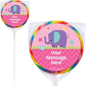 1st Birthday Girl Animal Personalized Lollipops (12 Pack)