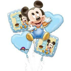 1st Birthday Mickey Mouse Balloon Bouquet (each)