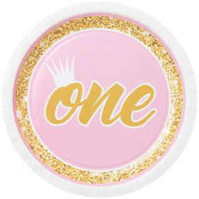 "1st Birthday Pink 9"" Plate (8)"