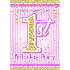1st Birthday Pink Invitations (8)