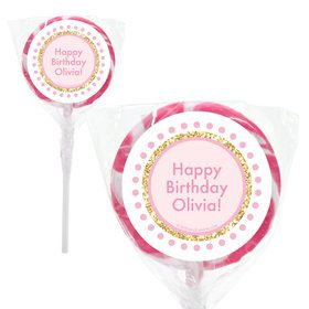 """1st Birthday Pink Personalized 2"""" Lollipops (20 Pack)"""