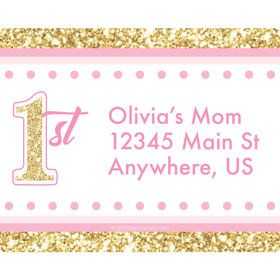 1st Birthday Pink Personalized Address Labels (Sheet of 15)