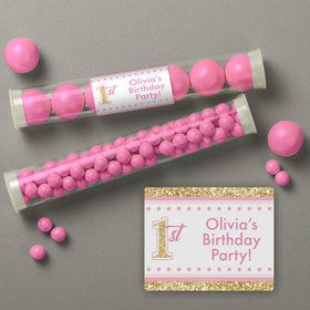 1st Birthday Pink Personalized Candy Tubes (12 Count)