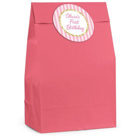 1st Birthday Pink Personalized Favor Bag (12 Pack)
