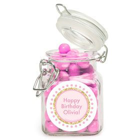 1st Birthday Pink Personalized Glass Apothecary Jars (12 Count)