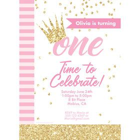 1st Birthday Pink Personalized Invitation (Each)