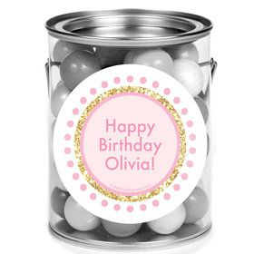 1st Birthday Pink Personalized Mini Paint Cans (12 Count)