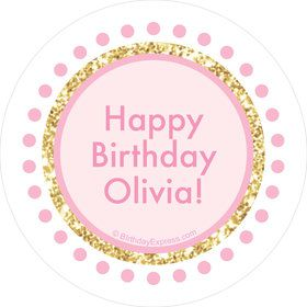 1st Birthday Pink Personalized Mini Stickers (Sheet of 24)