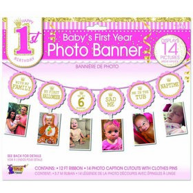 1st Birthday Pink Photo Banner