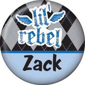 1st Birthday Rebel Personalized Mini Button (each)