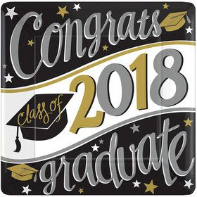 "2018 Graduation 10"" Square Dinner Plate (18 Count)"