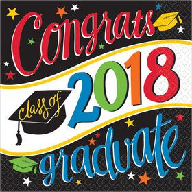2018 Graduation Colorful Lunch Napkins (36 Count)