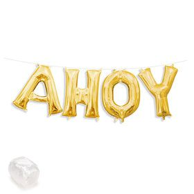 "Air-Fillable 13"" Gold Letter Balloon Kit ""AHOY"""