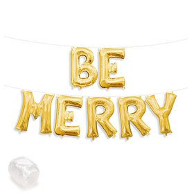 "Air-Fillable 13"" Gold Letter Balloon Kit ""BE MERRY"""